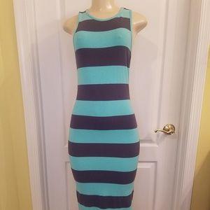 Striped Grey and Mint green Tank maxi Dress